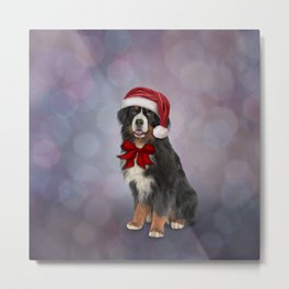 Bernese Mountain Dog in red hat of Santa 2 Metal Print