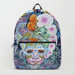 Sugar Skull Day of the Dead Floral Portrait with fantasy seahorse and lace Backpack