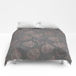 Modern floral hand drawn rose gold on grey cement graphite concrete Comforters