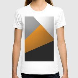 Metallic I - Abstract, geometric, metallic textured gold, silver and black metal effect artwork T-shirt