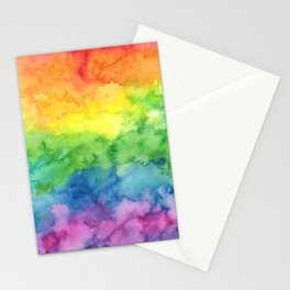 Watercolor Rainbow Stripe Stationery Cards