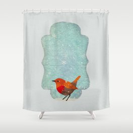 Little Red Robin in the Snow Shower Curtain