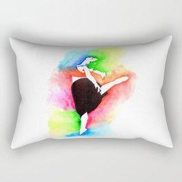 Ballerina Watercolor Art | Dancer Stencil Art Rectangular Pillow