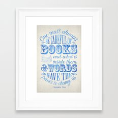 Be Careful Of Books - White and Blue Framed Art Print