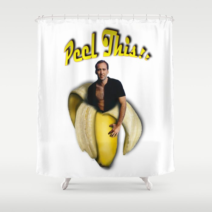 Nicolas Cage In A Peeled Banana Shower Curtain