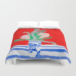 Protea Still Life in Red and Delft Blue Duvet Cover