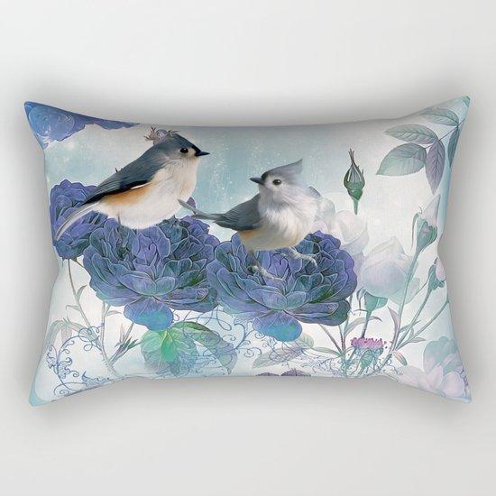Cute birds with flowers Rectangular Pillow