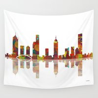 melbourne Wall Tapestries featuring Melbourne Skyline 2 by Marlene Watson