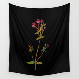 Phlox Carolina Mary Delany Vintage British Floral Flower Paper Collage Black Background Wall Tapestry