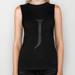 Letter J Initial Monogram Black and White Biker Tank