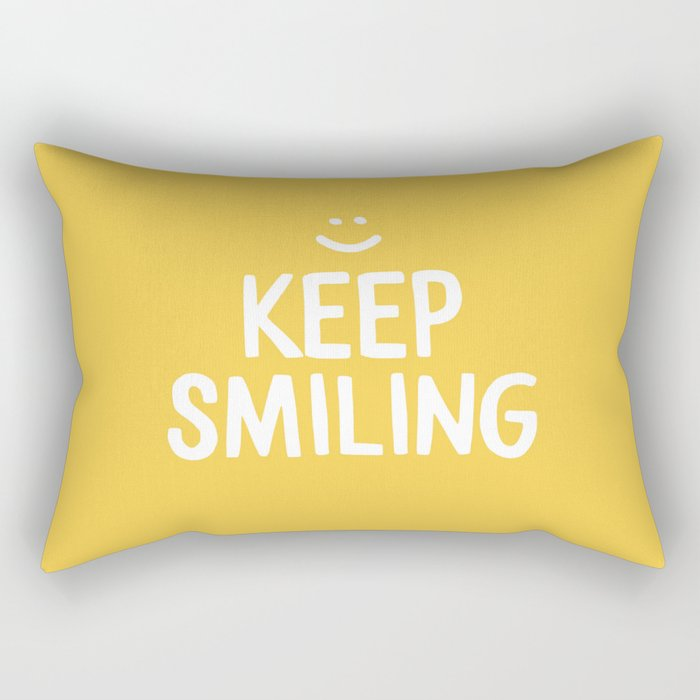 Keep Smiling Quote - Yellow Rectangular Pillow