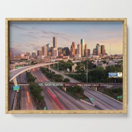 Be Someone in Downtown Houston, Texas during sunset Serving Tray