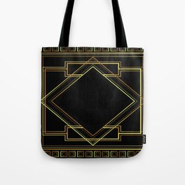 art deco gatsby black and gold lines geometric pattern Tote Bag