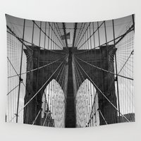 brooklyn bridge Wall Tapestries featuring Brooklyn Bridge by Photos by Vincent
