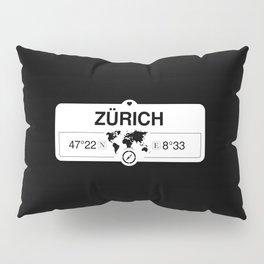 Zürich Switzerland GPS Coordinates Map Artwork with Compass Pillow Sham