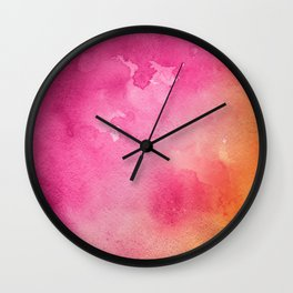 Original Painting In Bright Pink And Orange Wall Clock