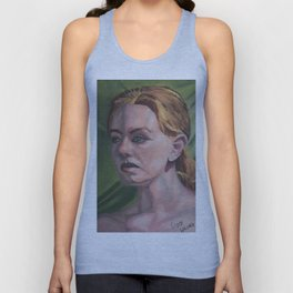 Oil paint on canvas painting of the portrait of a nude model Unisex Tank Top