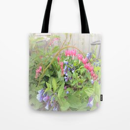 Floral Fantasy Bleeding Hearts and Bluebells Tote Bag