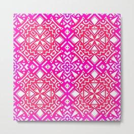 Tribal Tiles I (PINK) Geometric Metal Print
