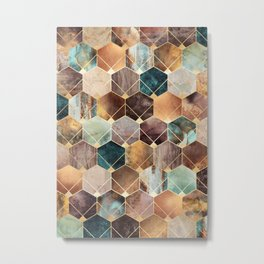 Natural Hexagons And Diamonds Metal Print