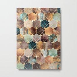 Natural Hexagons And Diamonds Metal Print