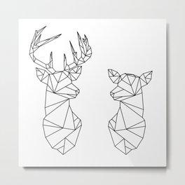 Geometric Stag and Doe (Black on White) Metal Print
