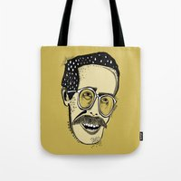 bill Tote Bags featuring Bill by Sarah Mould