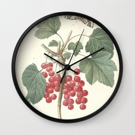 ribes rubrum, Redcurrant Redoute Roses 4 Wall Clock