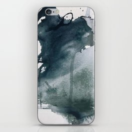 Lakeside: a minimal, abstract, watercolor and ink piece in shades of blue and green iPhone Skin