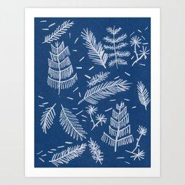 White Pine on Speckled Blue Art Print