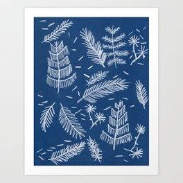 White Pine on Speckled Blue Art Print