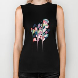 Colorful Abstract Floral Design Biker Tank