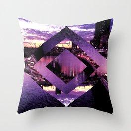 Purple Geometric Brisbane City River Print Throw Pillow