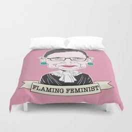 Ruth Bader Ginsburg The Notorious RBG Flaming Feminist Duvet Cover