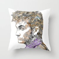 david tennant Throw Pillows featuring David Tennant Dr. Who Text portrait by Mike Clements