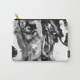 Black and White Half Faced Border Collie Carry-All Pouch