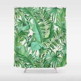 Green tropical leaves III Shower Curtain