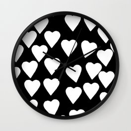 Hearts White on Black Wall Clock