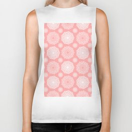White Floral Mandala Pattern on Coral - Mix & Match with Simplicity of Life Biker Tank