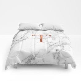 Monogram rose gold marble T Comforters