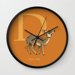 """D is for Dik-dik"": Under Appreciated Animals™ -series unusual creatures ABC alphabet kids orange Wall Clock"