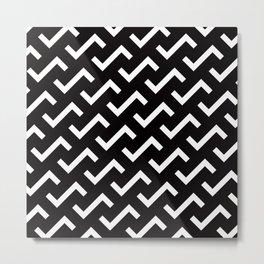 Geometric Pattern #36 (black white S shape pattern) Metal Print