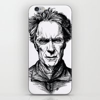 clint eastwood iPhone & iPod Skins featuring Clint Eastwood by Oriane Mlr