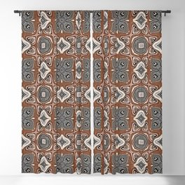 Gray Brown Taupe Beige Tan Black Hip Orient Bali Art Blackout Curtain