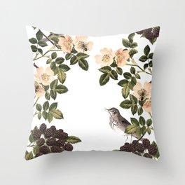 Blackberry Spring Garden - Birds and Bees Cream Flowers Throw Pillow