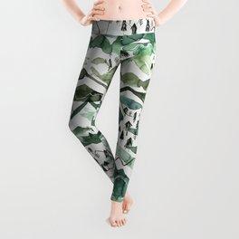 Watercolor Green Wintery Mountains Leggings