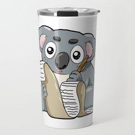 Writing Koala Cute Bill Author Writer Pencil Comic Travel Mug
