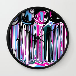 Abstract in Blue, Pink, Black and White Wall Clock