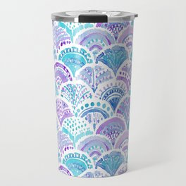 Mystical MERMAID DAYDREAMS Watercolor Scales Travel Mug