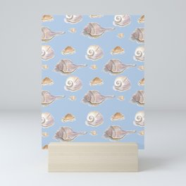 She Sells Sea Shells - Blue Mini Art Print